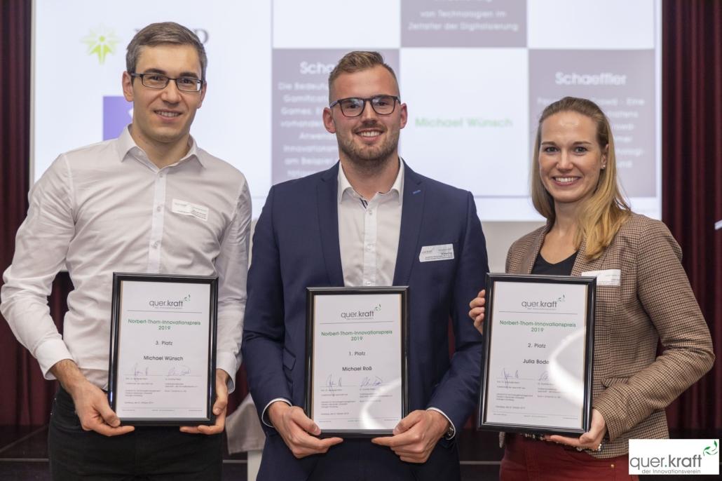 Alle drei Preisträger des Norbert-Thom-Innovationspreises 2019