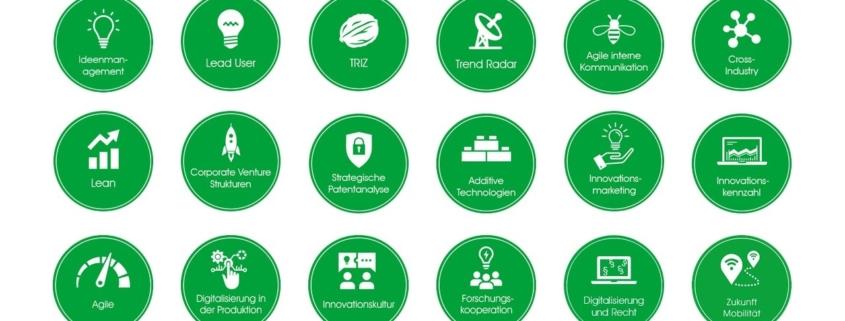 Logos aller 18 Arbeitskreise von quer.kraft